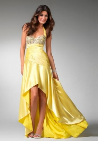 yellow high-low prom dress