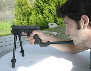 funny weapons fail picture stand for glock handgun