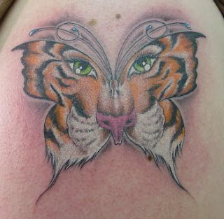 Butterfly Tattoo with Tiger Design - Hybrid Tattoos