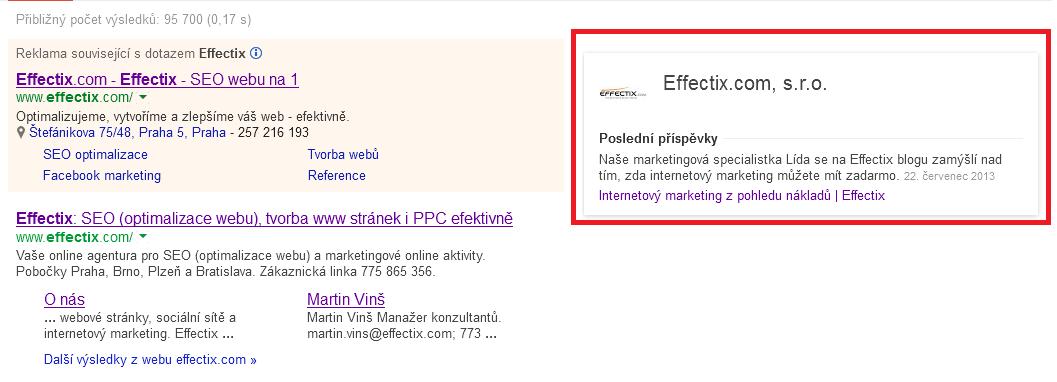 Propojení Google plus profilu s webem