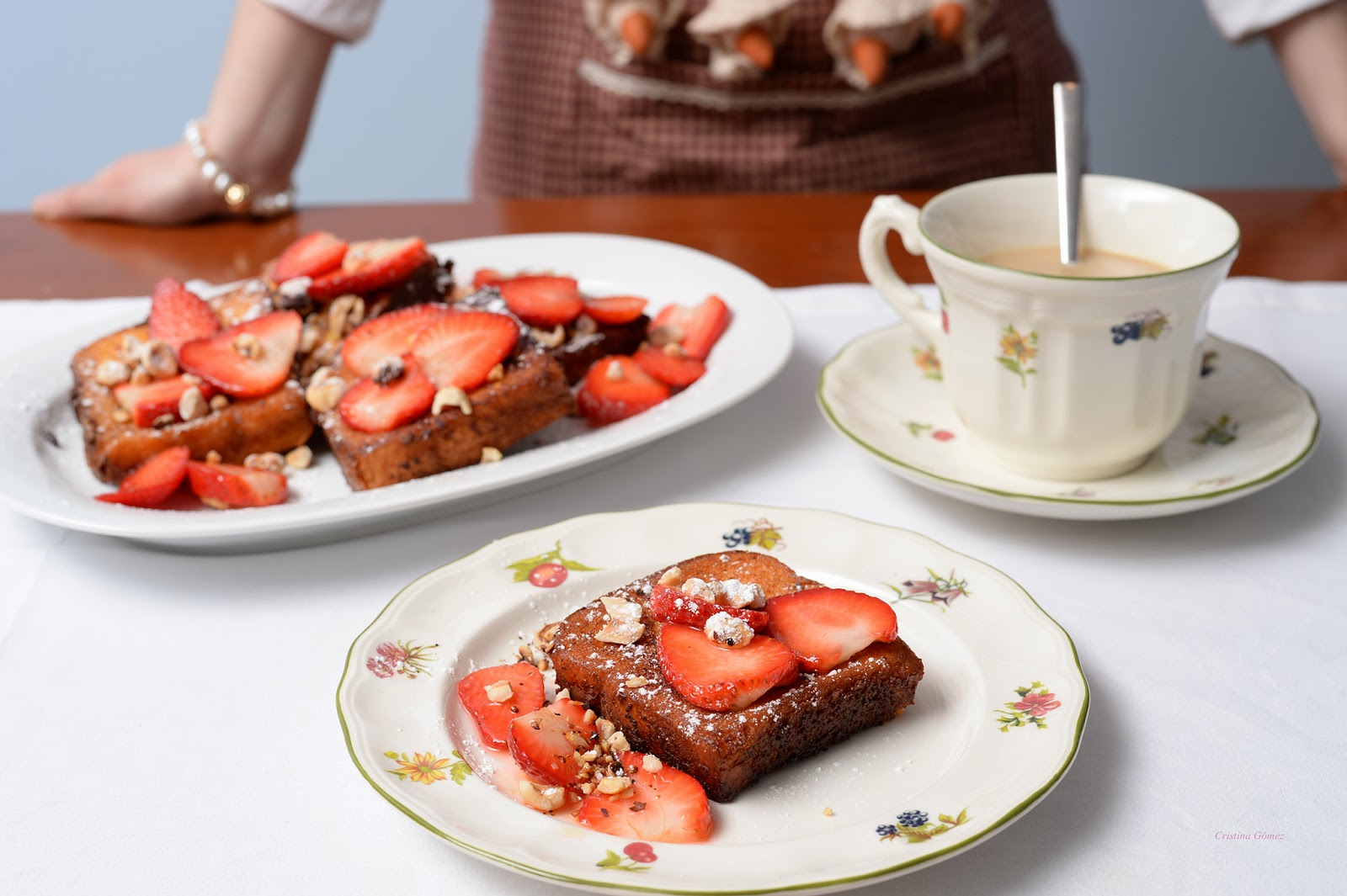Custard-Battered French Toast with Hazelnuts & Strawberries recipe