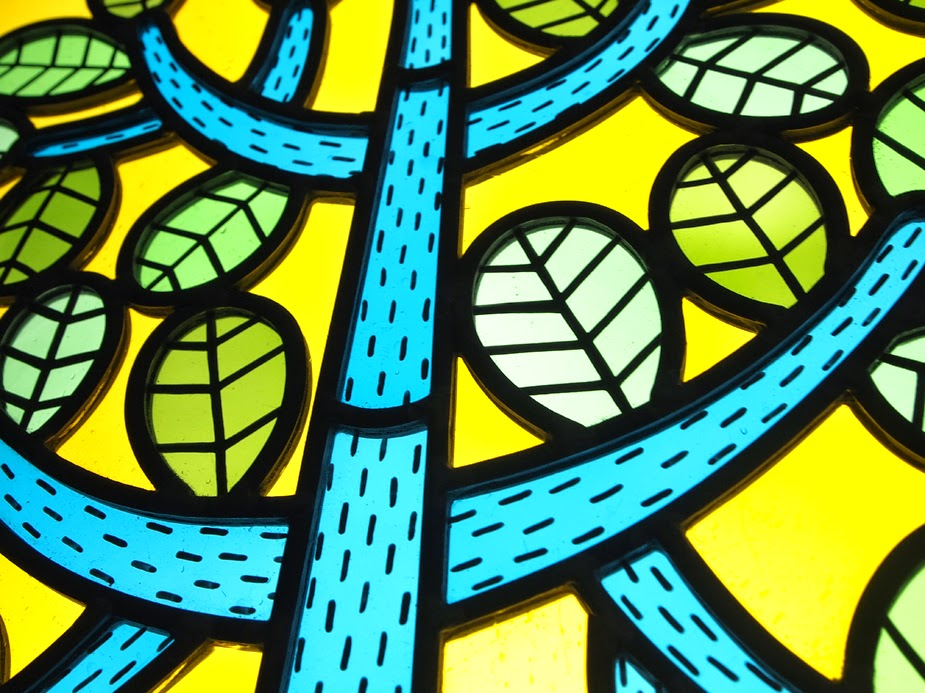 Through the round window contemporary stained glass for Contemporary stained glass