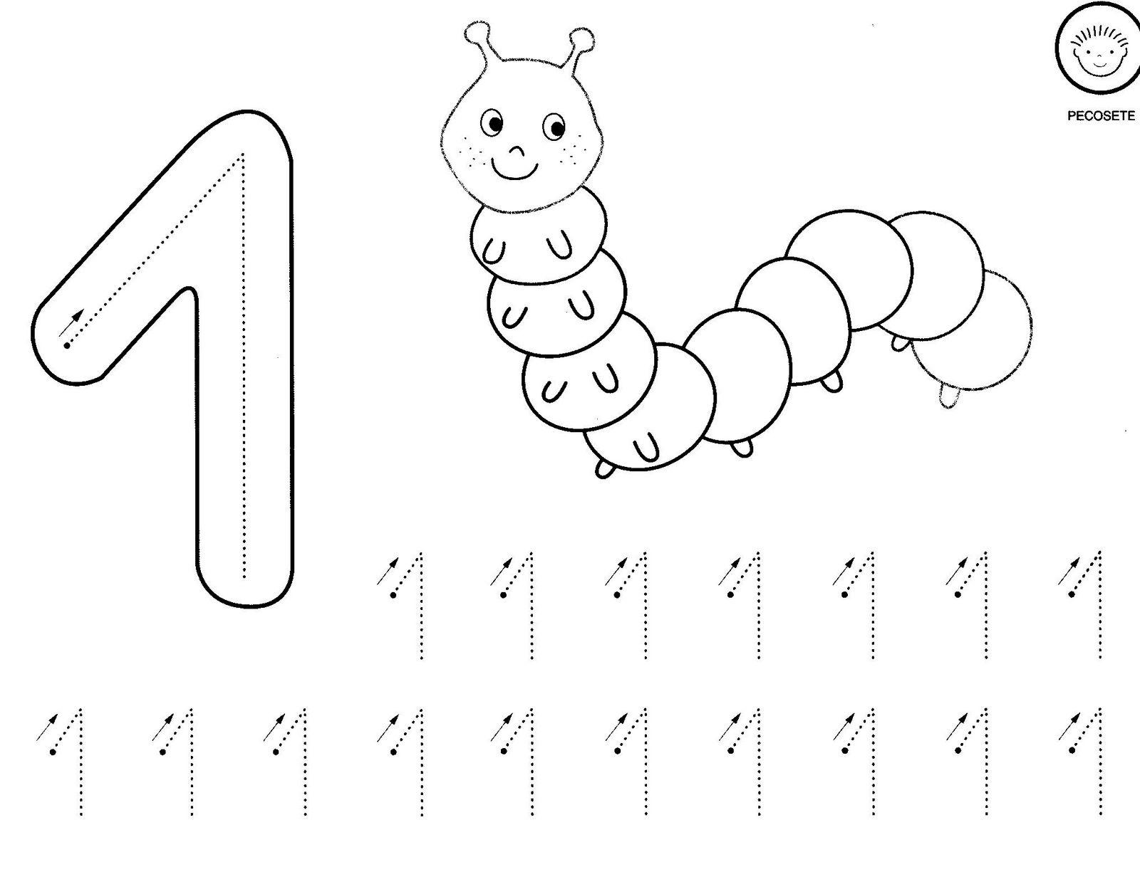 Fichas de aprendizaje fichas del numero 1 - Como pintar numeros en la pared ...