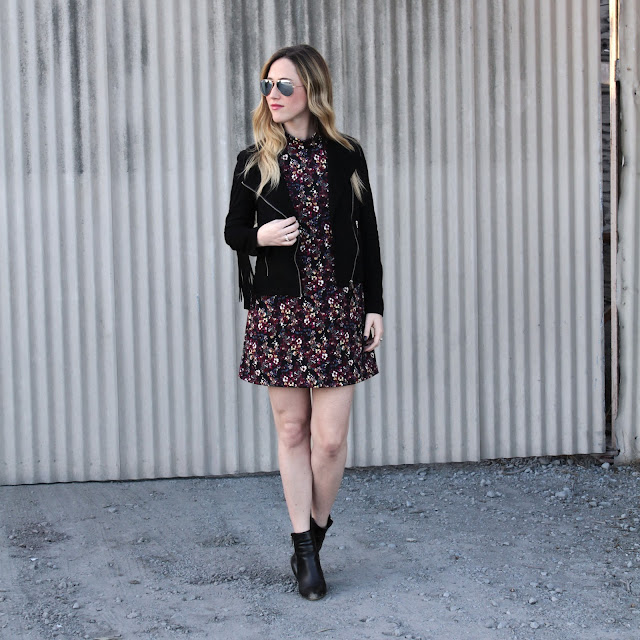 seventies floral dress and black suede fringe jacket