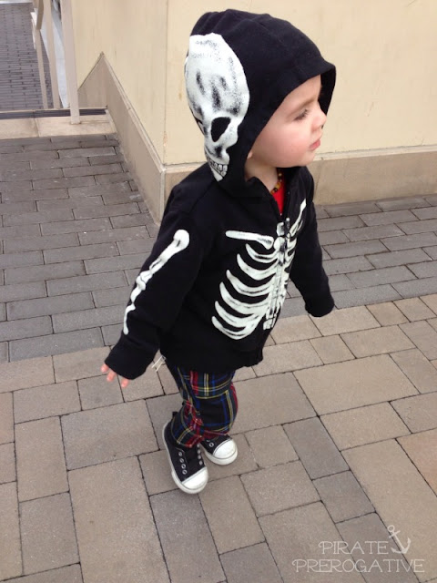Punk rock skeleton kid