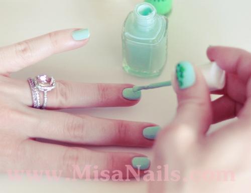 Học vẽ nail xanh ngọc ngọt ngào