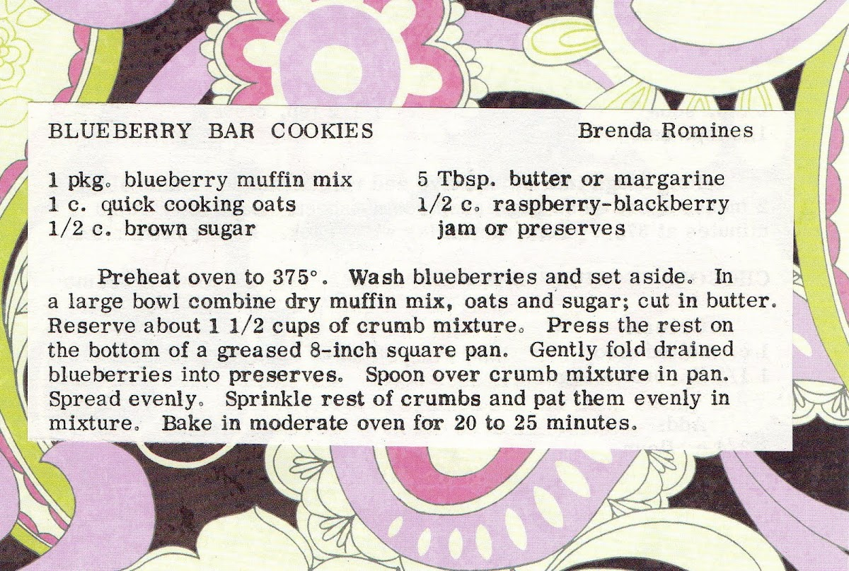 Blueberry Bar Cookies (quick recipe)