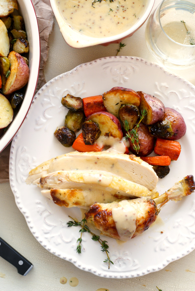 Oven Roasted Chicken and Vegetables with Mustard-Thyme Gravy | thetwobiteclub.com | #donatemeals #perduechicken #sponsored