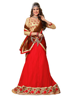 Red & Gold Net Embroidered Lehenga With Brocade Choli