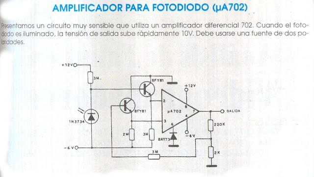 fichas de circuitos electr u00f3nicos  amplificador para fotodiodo