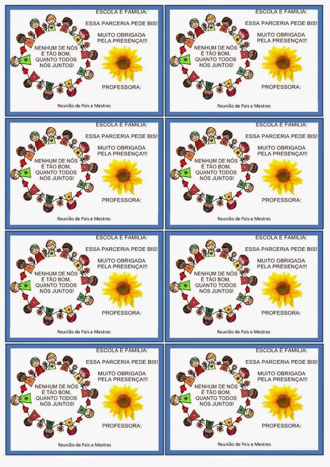 Muito Blog Educação de Valor: Cartão lembrança para Reunião de Pais e  ZG13