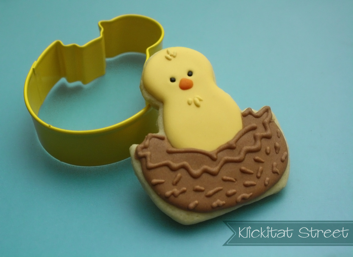 bird in nest sugar cookie and Wilton chick in Easter egg cutter