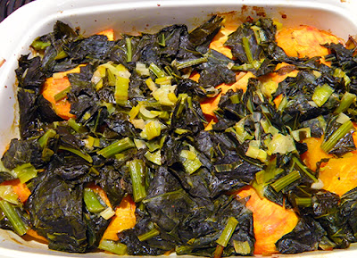 Baked Kabocha Squash and Collard Greens Just out of the Oven