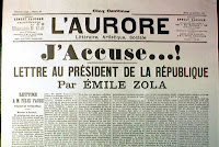 The headline from Emile Zola's famous 'J'accuse!' letter