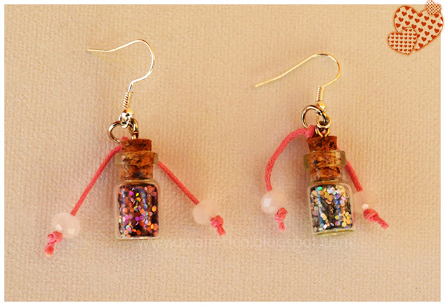 EAR.046 Σκουλαρίκια με μαγικό μπουκαλάκι Καλής τύχης σε Ροζ και Ασημί χρώμα