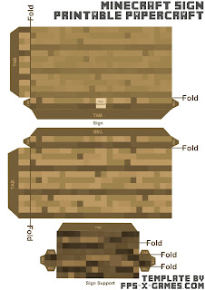Download free Minecraft papercraft sign template cut out