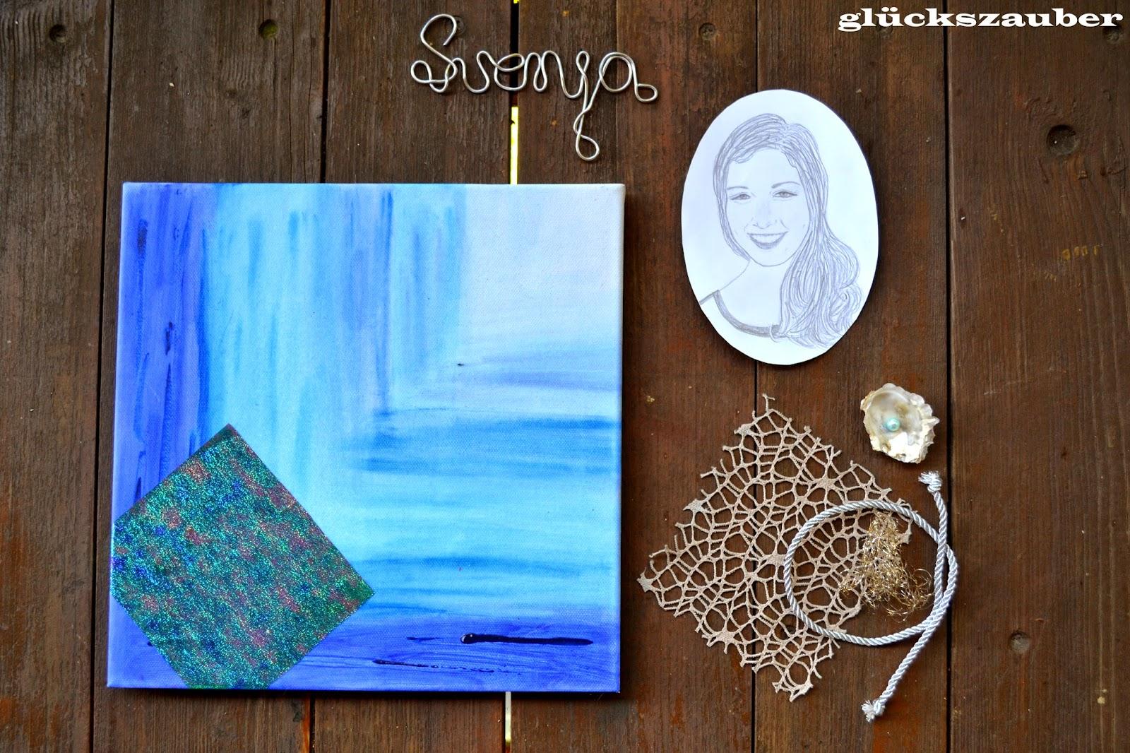 gl ckszauber geburtstagsgeschenk f r eine liebe freundin leinwand collage mit portrait. Black Bedroom Furniture Sets. Home Design Ideas
