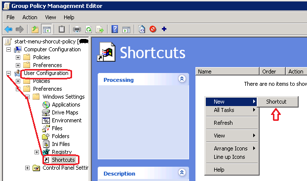 Create start menu shortcut via GPO