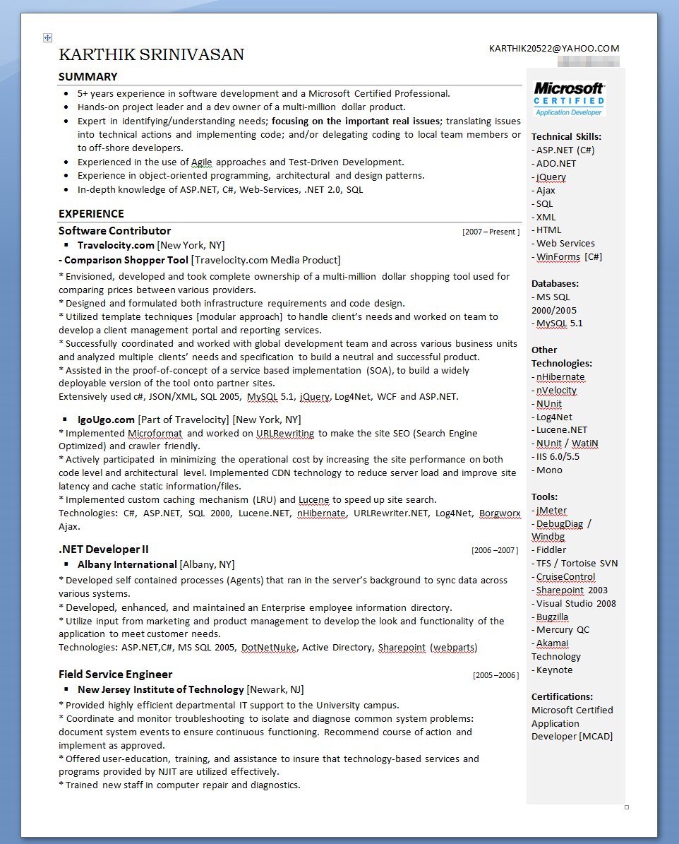 karthik s evolution of my resume karthik srinivasan two page resume second page isn t shown