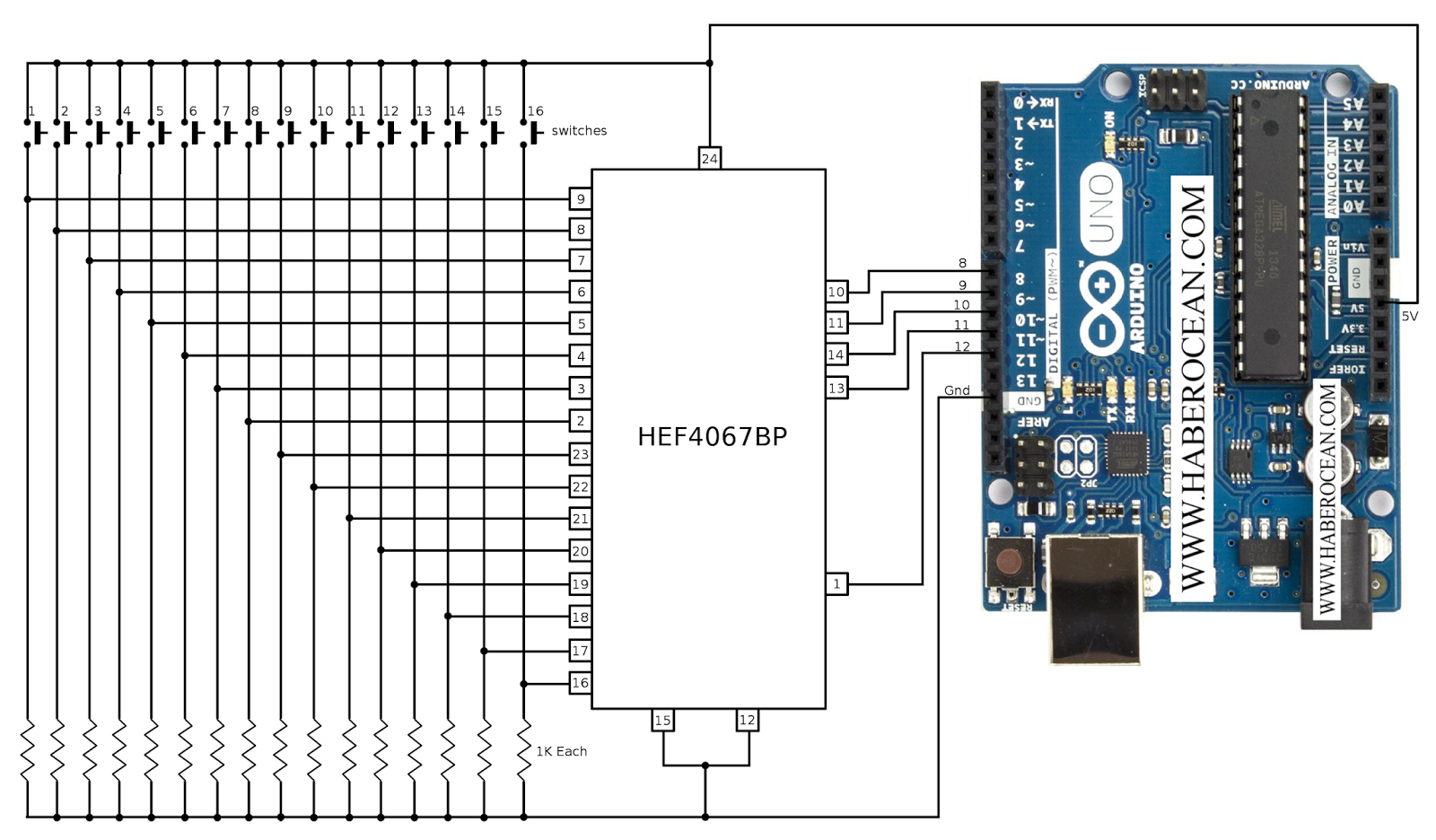 Interface switches to arduino uno using only digital