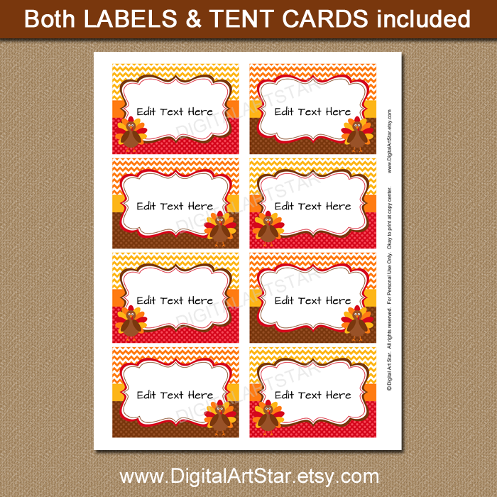 editable Thanksgiving food labels