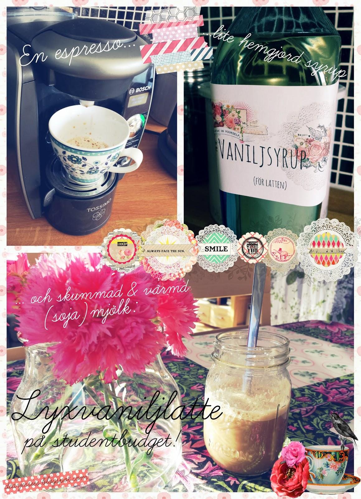 dearjessies.blogspot.com, vanilla syrup, vaniljsyrup, homemade, latte
