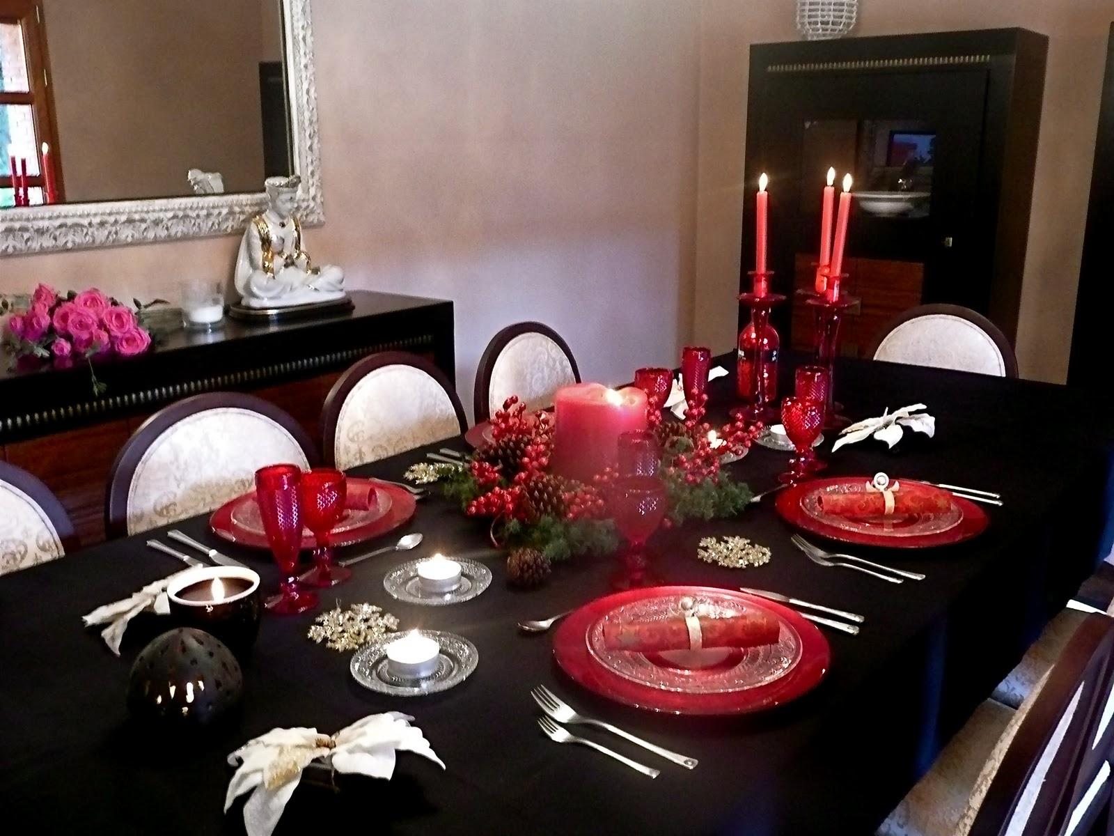 D corandluxe mesa roja por navidad - Decoracion de mesas navidenas ...