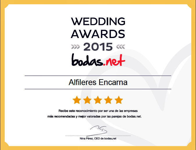 Premio 2ª Edición Premios Bodas.net: Wedding Awards 2015