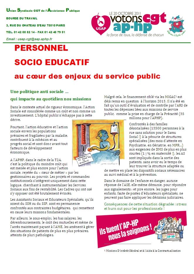 Usap cgt tract sp cifique personnel socio educatif - Grille indiciaire cadre socio educatif ...