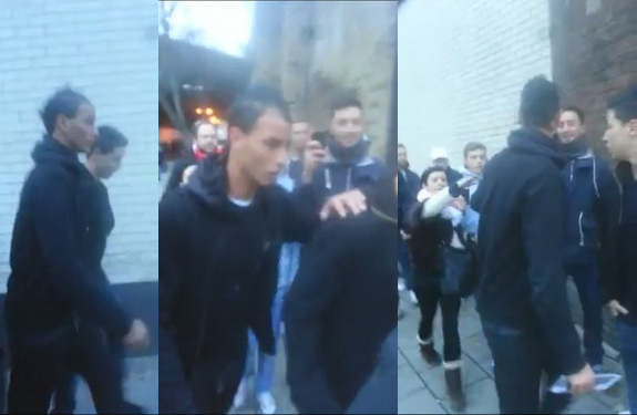 A series of pictures showing Samir Nasri and Marouane Chamakh being abused by Arsenal fans
