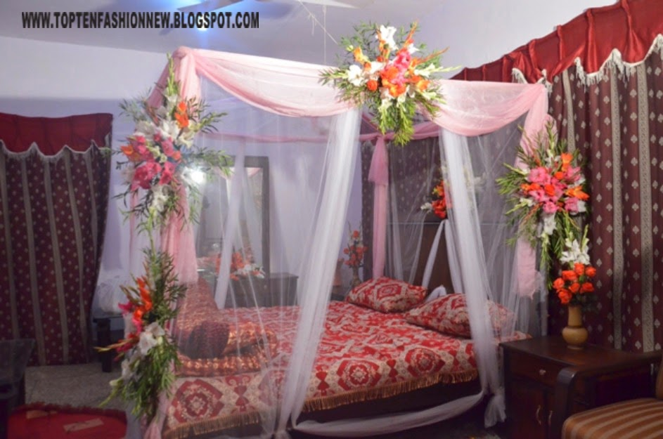 Wedding 1st Night Bed Decoration Pictures