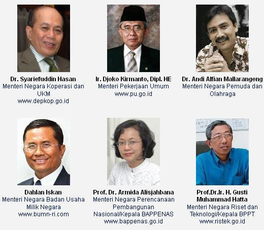 Berikutsusunan Kabinet Indonesia Bersatu II selengkapnya: