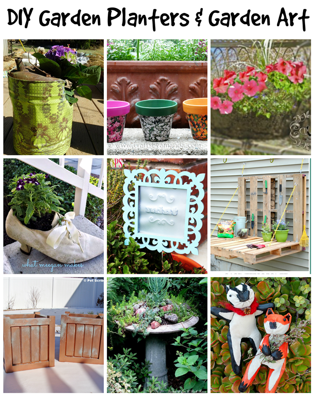 Unique DIY Garden Planters and Garden Art --- wonderful inspiration!
