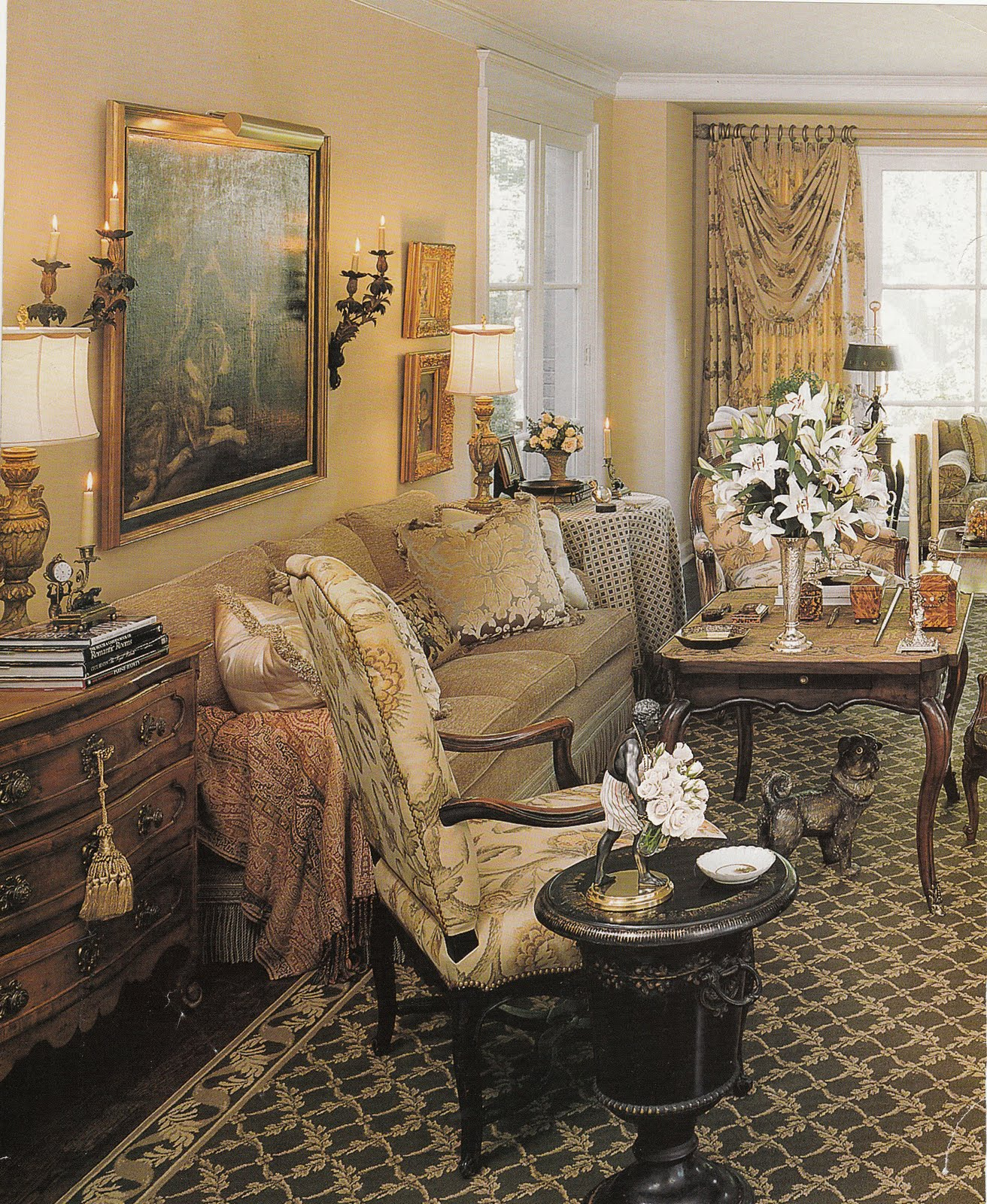 Another Perfectly Accessorized Room With A Tea Table In Front Of The
