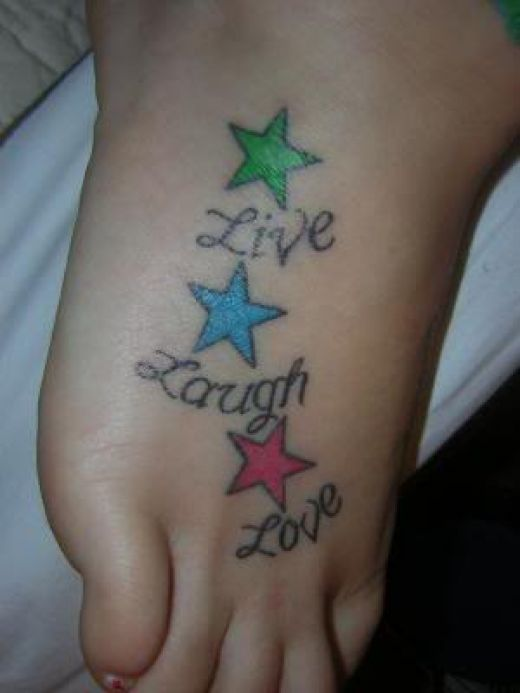star tattoos with quotes. live laugh love quotes tattoos