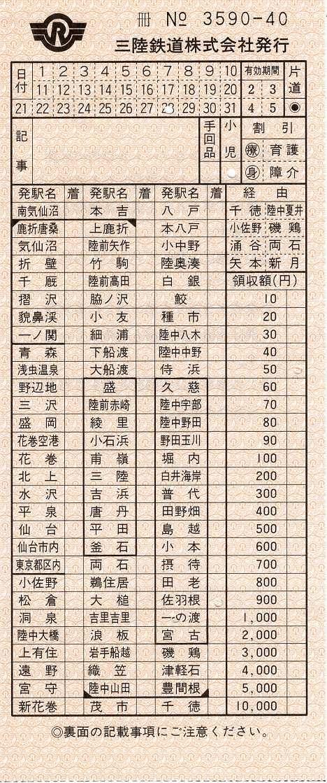 三陸鉄道 車内特別補充券(駅名式)