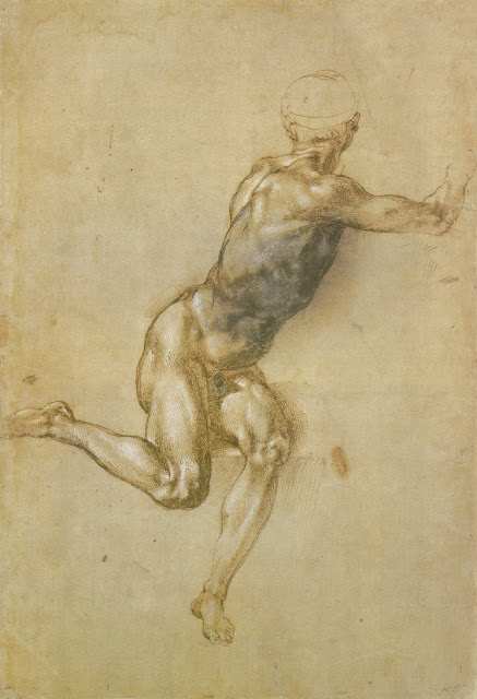 Michelangelo. A seated male nude twisting around.
