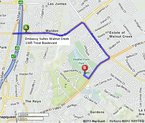 Map Quest directions from Embassy Suites Walnut Creek to Art and Wine Festival at Heather Farm Park