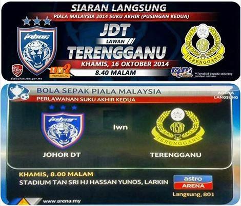Siaran Langsung JDT Vs Terengganu Suku Akhir Ke 2 Piala Malaysia 2014