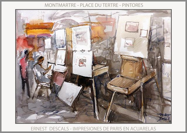 MONTMARTRE-PINTORES-PINTURA-FRANCIA-ACUARELAS-PARIS-PLACE-DU TERTRE-PINTURAS-IMPRESIONES-ACUARELA-PINTOR-ERNEST DESCALS-
