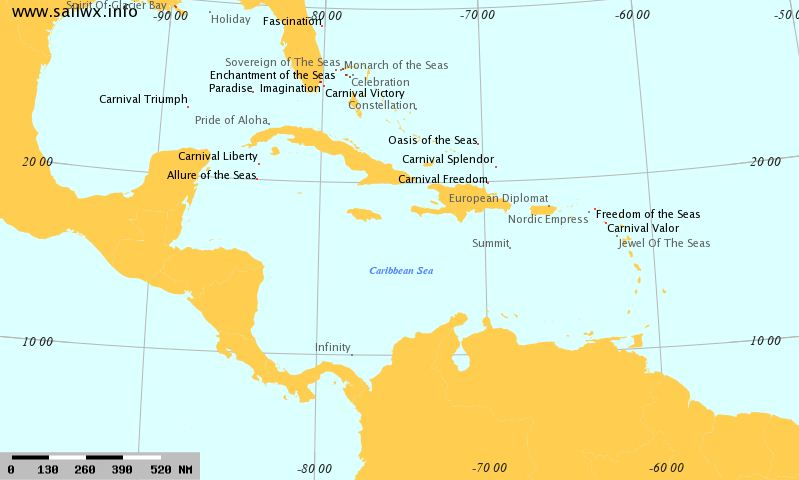 Cruise Ships Location / Position  - Caribbean Sea AIS Map