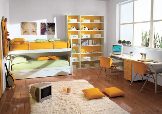 Children Bedroom With Bunk Beds Modern Home Minimalist