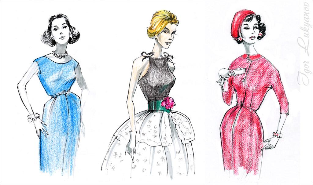 imitazione dei disegni di moda retro dalle riviste vintage