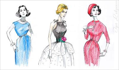 disegno moda retro, vintage style