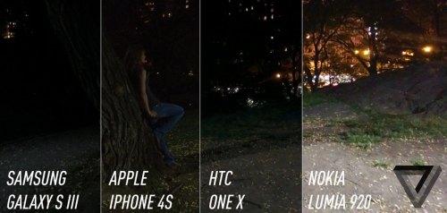 Paragone tra varie fotocamere di notte tra cui Nokia Lumia 920