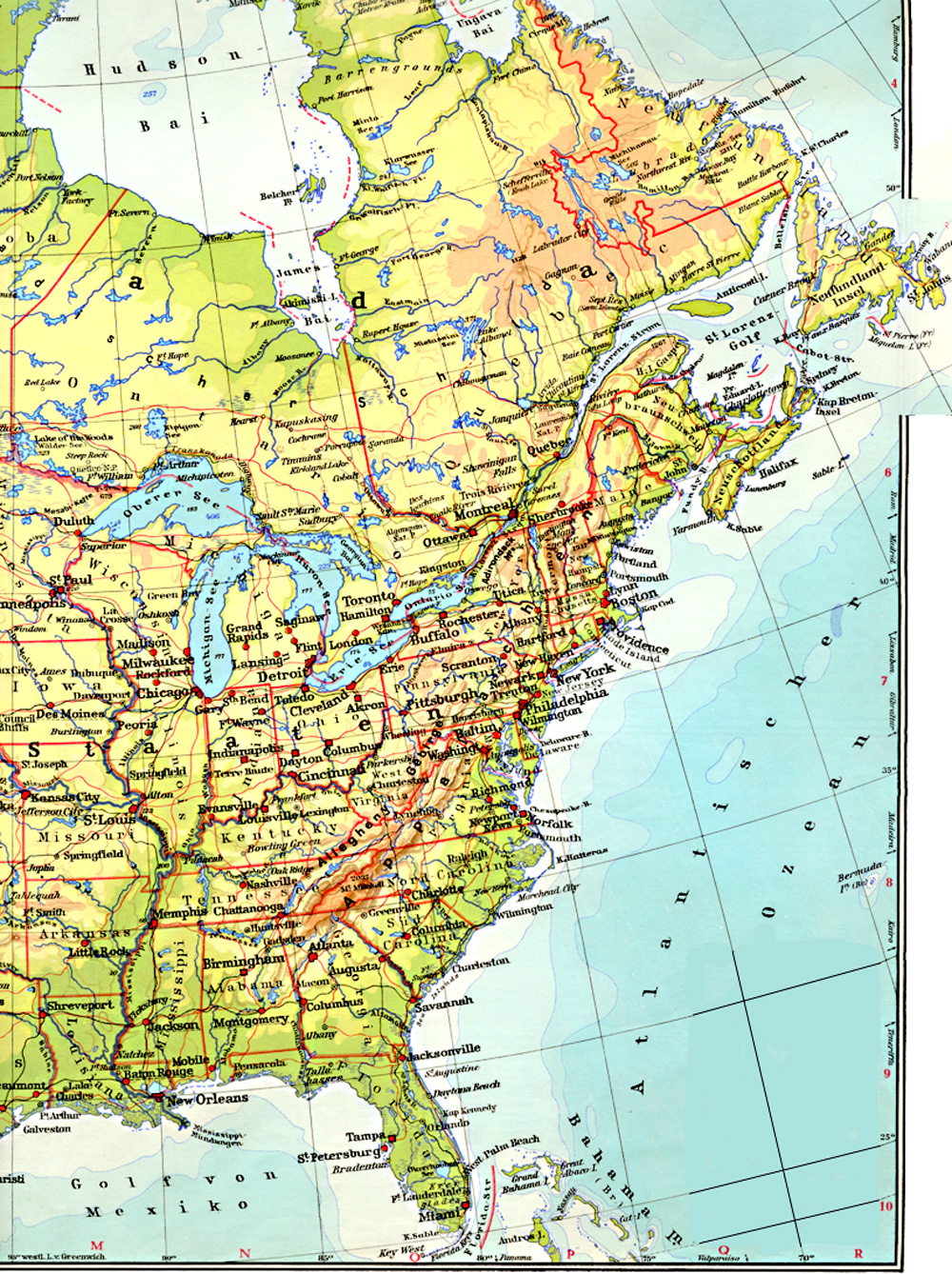 Map Usa East Coast Cities - Usa map physical