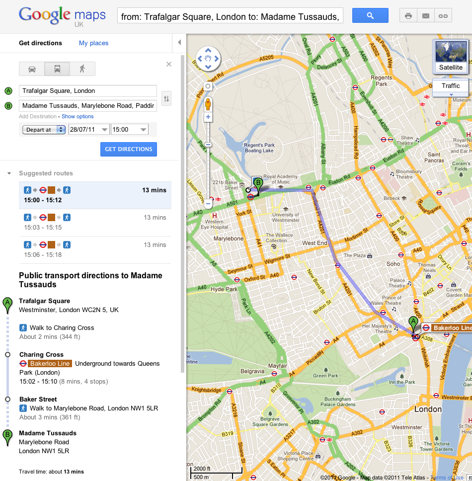 official google blog catch the london underground with google maps. Black Bedroom Furniture Sets. Home Design Ideas