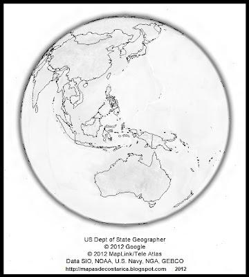 El mundo, google earth, vista nocturna, Oceania y Asia, blanco y negro