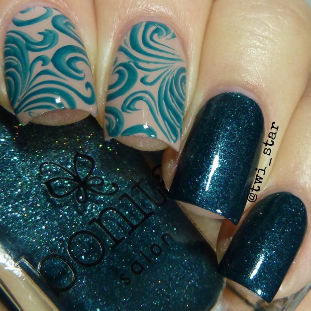 Bonita Colors Starry Night polish swatch teal shimmer