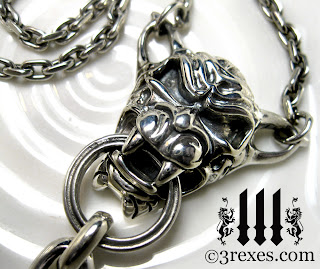 silver gargoyle necklace detail